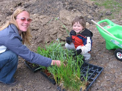 Members of the extended Tallgrass family planting plugs
